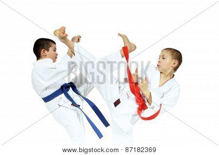 The blows Yoko geri and mae geri are performing sportsmens in karategi