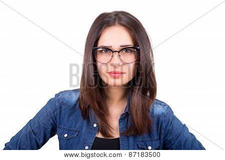 Stylish Girl In Glasses Looks Forward