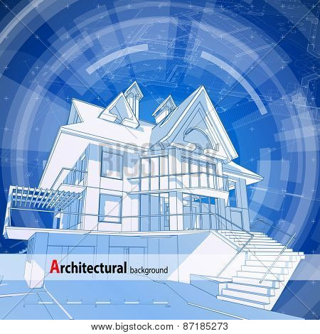 Vector y foto architecture design blueprint 3d bigstock architecture design blueprint 3d house plan blue technology radial background vector illustration malvernweather Choice Image