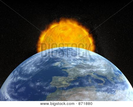 planet earth and sun