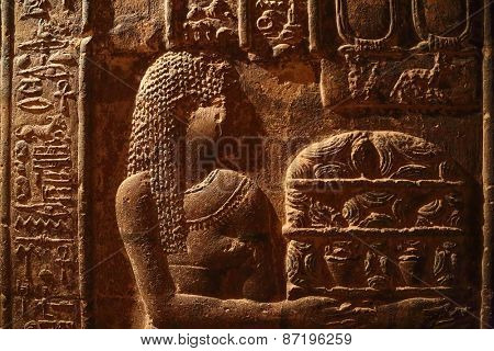 Hieroglyphic drawings and paintings on the wall of the corridor of the ancient Egyptian temple of Dendera