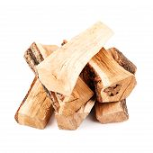 stack of firewood isolated on white background poster