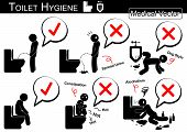 Toilet Hygiene ( Stick man vector ) poster