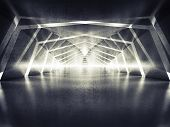 Abstract dark shining surreal tunnel interior background 3d illustration poster