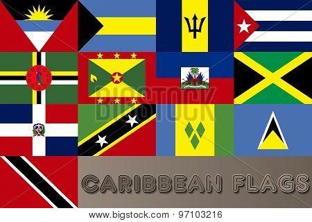 Caribbean Countries Flags