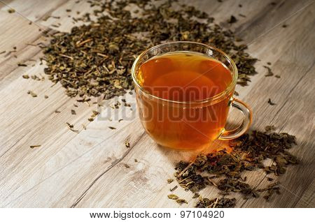 Cup Of Tea In Tea Leaves
