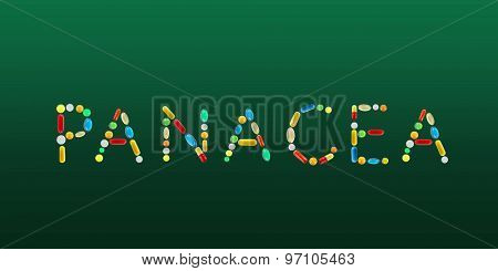 The word Panacea made with pills on green background