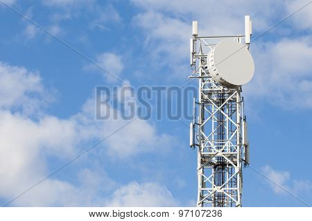 Telecommunications Antenna Tower For Radio, Television And Telephony With Beautiful Blue Sky.