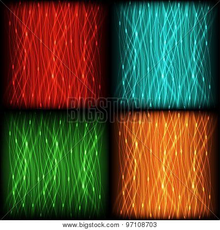 set abstract background of bright neon colored curves vertical lines with glare