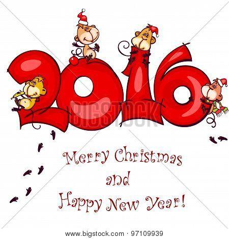 Chinese zodiac new year postcard 2016
