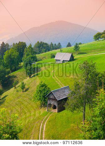 Traditional Slovenian mountain landscape
