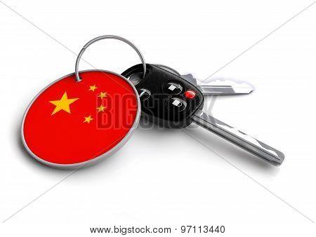 Car Keys With China Flag As Keyring.