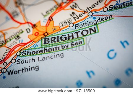 Brighton City On A Road Map