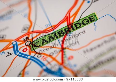 Cambridge City On A Road Map