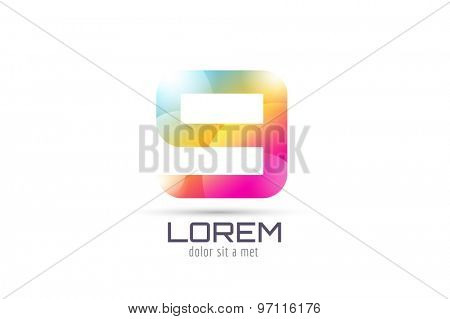 Vector 9 logo template. Abstract arrow shape and symbol, icon, text or creative, idea, flow. Stock illustration. Isolated on white background.