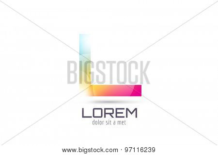 Vector L logo template. Abstract arrow shape and symbol, icon, text or creative, idea, flow. Stock illustration. Isolated on white background.