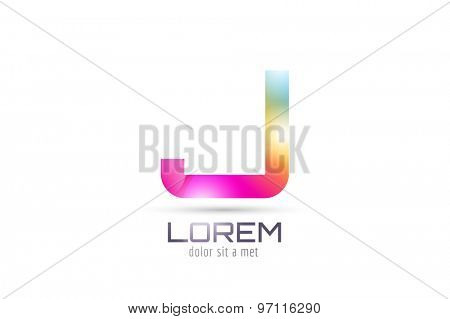 Vector J logo template. Abstract arrow shape and symbol, icon, text or creative, idea, flow. Stock illustration. Isolated on white background.