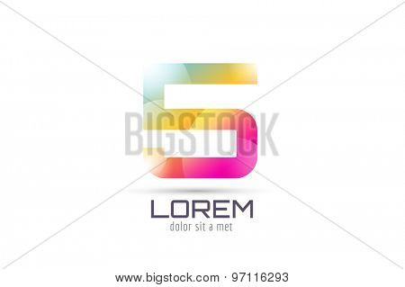 Vector 5 logo template. Abstract arrow shape and symbol, icon, text or creative, idea, flow. Stock illustration. Isolated on white background.
