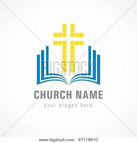 Christian church vector logo. Gold colored lighting crucifixion from pieces, open blue book with cover and pages. Religious educational template symbol. Bible learning and teaching class.