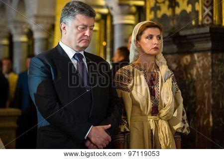 Petro Poroshenko At Festive Liturgy At St. Vladimir Patriarchal Cathedral