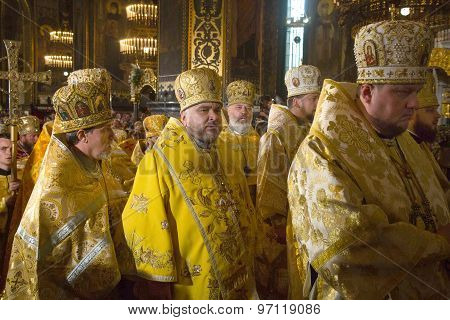 Priests During The Festive Liturgy At St. Vladimir Patriarchal Cathedra