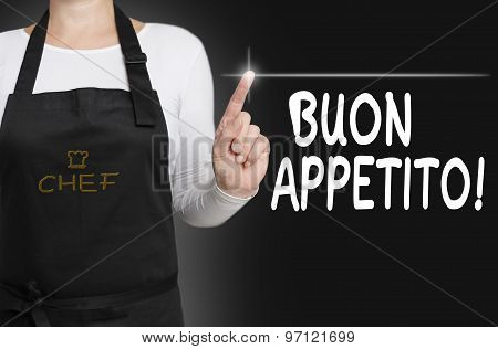 Buon Appetito Food Touchscreen Is Operated By Cook