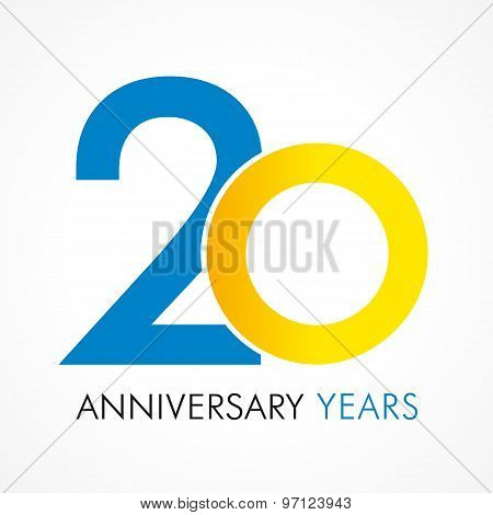 20 years old celebrating classic logo. Anniversary year of 20 th vector template. Birthday greetings celebrates. Traditional digits of jubilee ages in a shape of rings.