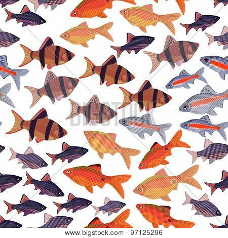 Seamless Pattern Fishes Aquarium.