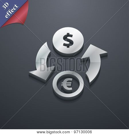 Currency Exchange Icon Symbol. 3D Style. Trendy, Modern Design With Space For Your Text Vector