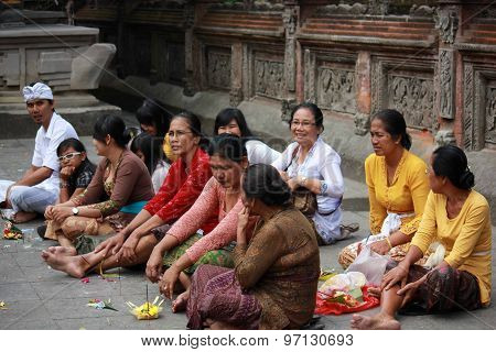 Group Of Balinese People And Their Offers