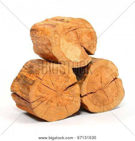 Stack of firewood isolated on white background. Renewable energy from forest. poster