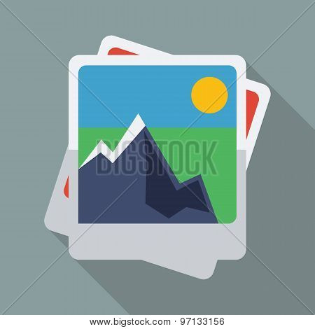 Picture Gallery Icon. Flat Vector Icon With Long Shadow Design Collection.