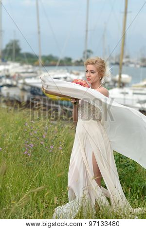 Bride With Posy In Yacht Club