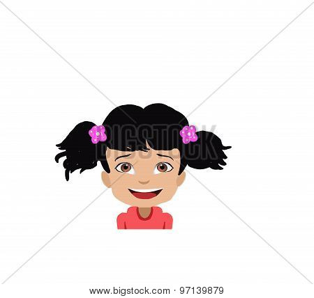 pretty girl face smiling illustration