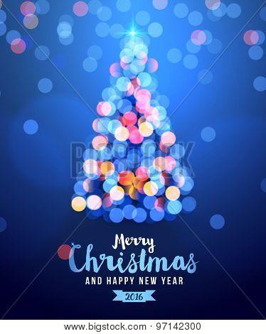 Christmas card with tree lights and merry Christmas text