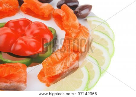 red smoked salmon slice served on white poster