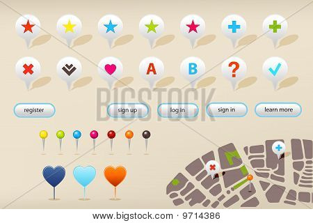 Gps Navigation Markers And Website Elements