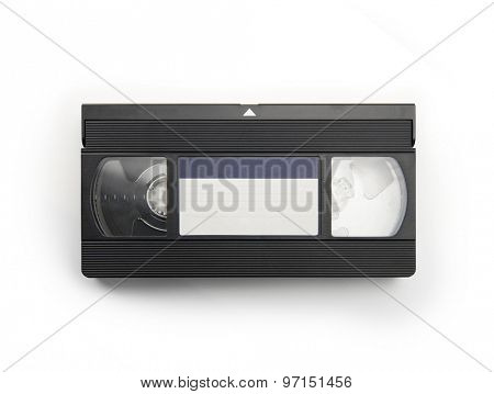 VHS Video cassette tape isolated on white. top view with blue blank label.