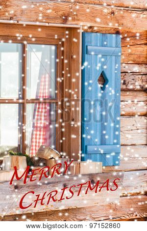Window of Bavarian Chalet in Winter - Merry Christmas
