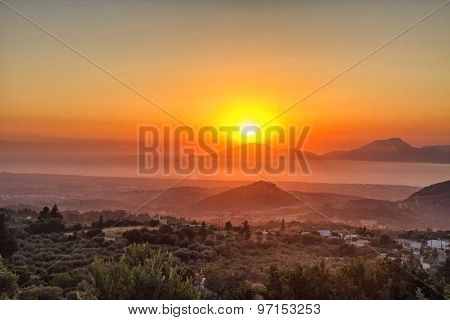 beautiful dramatic sunset in Kos, Greece