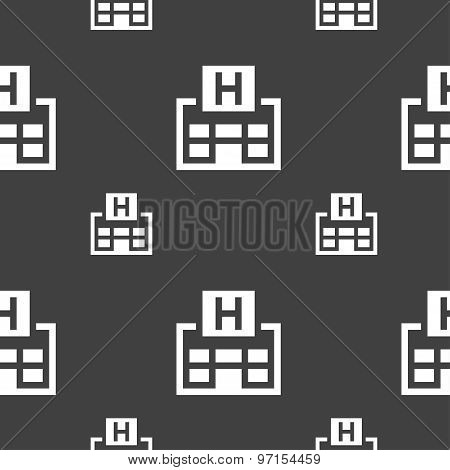Hotkey Icon Sign. Seamless Pattern On A Gray Background. Vector