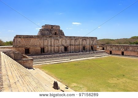 Uxmal Mayan ruins in Mexico, located at Yucatan Peninsula