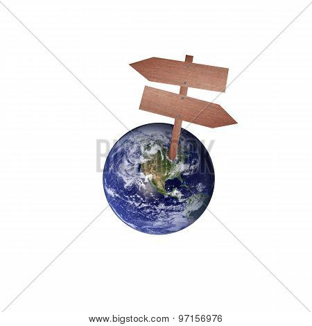 Earth And Wooden Sign.