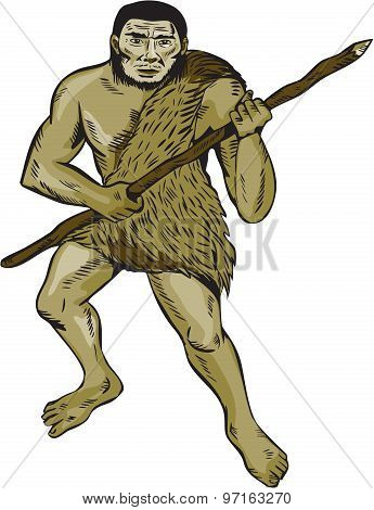 Neanderthal Man Holding Spear Etching