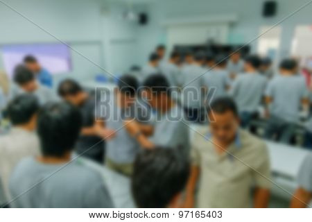 Blurred Contractors And Technicians To Install Fiberoptic're Headed In The Training Room.