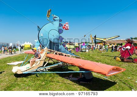 MOSCOW - JULY 26: Participants posing before fly on Red Bull Flugtag on July 26, 2015 in Moscow. Red Bull Flugtag is an event in which competitors attempt to fly homemade human-powered flying machines