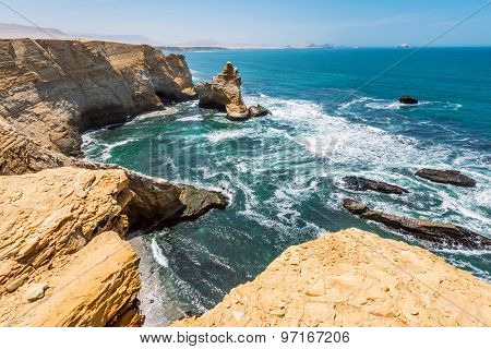 Cathedral Rock Formation, Paracas National Reserve In Peru