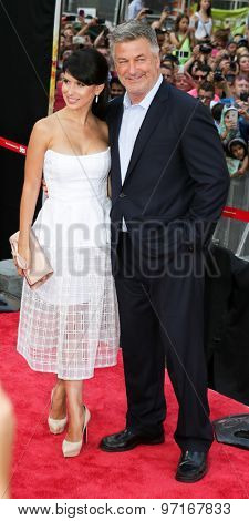 NEW YORK-JUL 27: Actor Alec Baldwin (R) and wife Hilaria Baldwin attend the US Premiere of 'Mission: Impossible - Rogue Nation' in Times Square on July 27, 2015 in New York City.