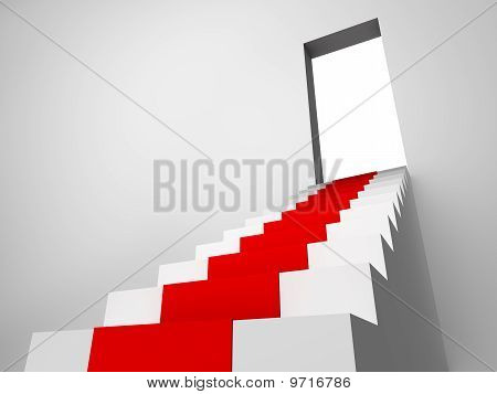Monochromic 3D Rendered Image Of Stair With Carpet Runner To Opened Door