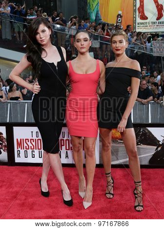 NEW YORK-JUL 27: (L-R) Models Ireland Baldwin, Alaia Baldwin and Hailey Baldwin attend the US Premiere of 'Mission: Impossible - Rogue Nation' in Times Square on July 27, 2015 in New York City.